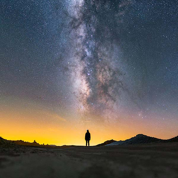 Milky Way above Lady in Trona Pinnacles National Landmark California