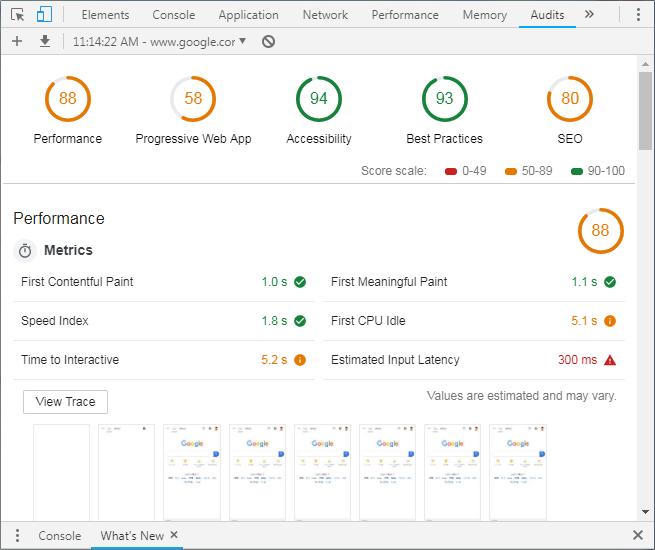 Google Chrome Audit Tool Lighthouse