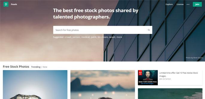 Pexels Free Stock Image site