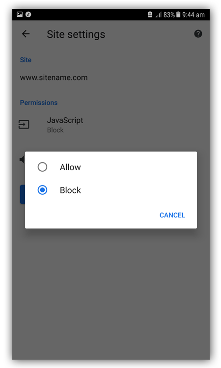 JavaScript Blocked Android Chrome