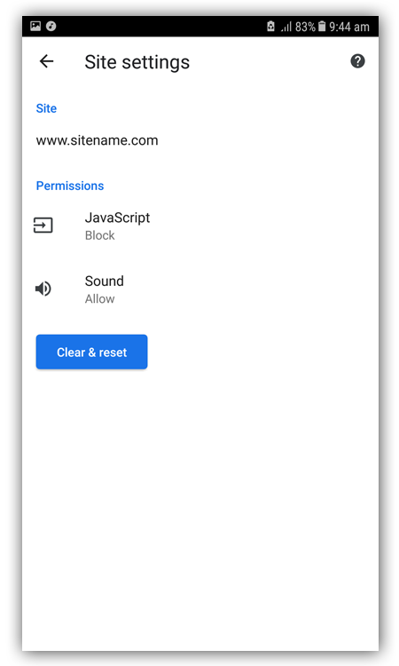 Javascript blocking Chrome android
