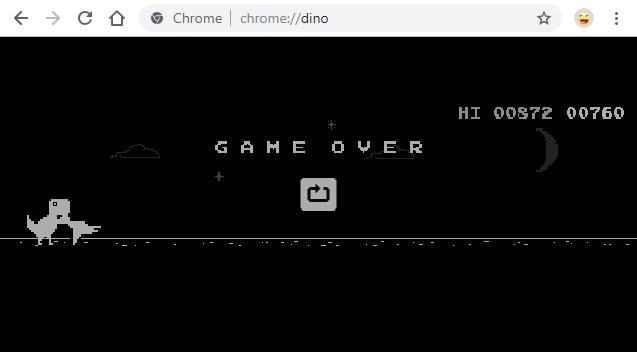 Google Chrome Dinosaur Game Over
