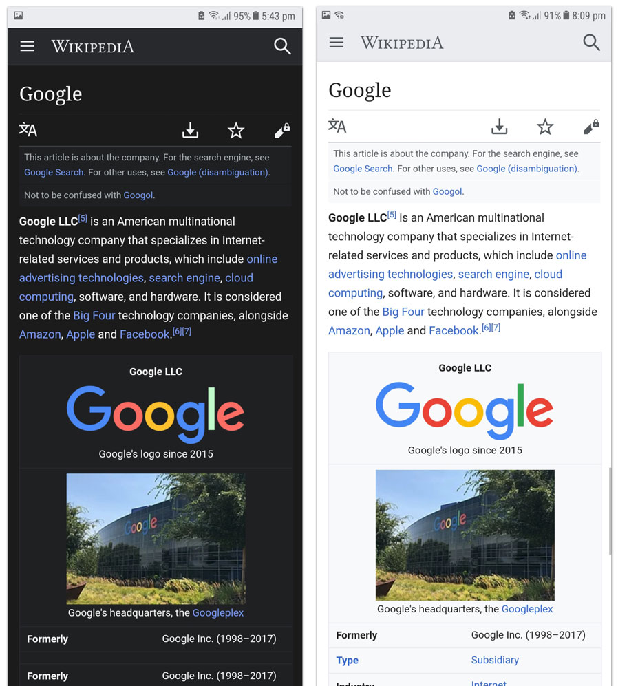 Chrome Dark Night Mode and normal mode compared
