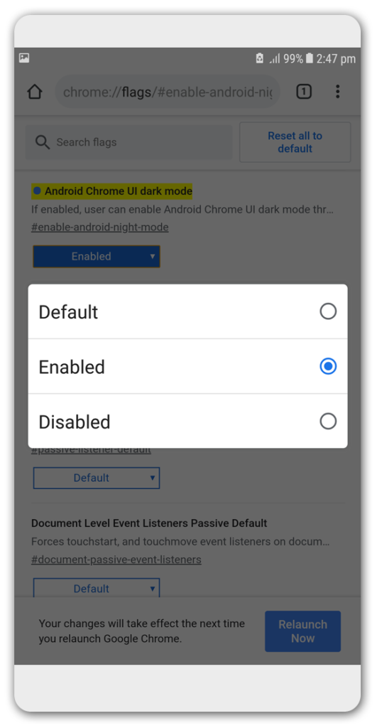 Enable Dark Mode in Android Chrome