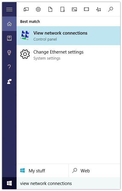Windows 10 Network Connections and Status