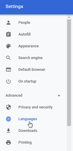 Google Chrome change default language