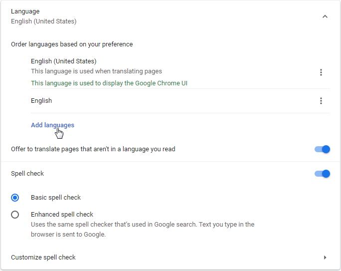 Google Chrome Change preferred language