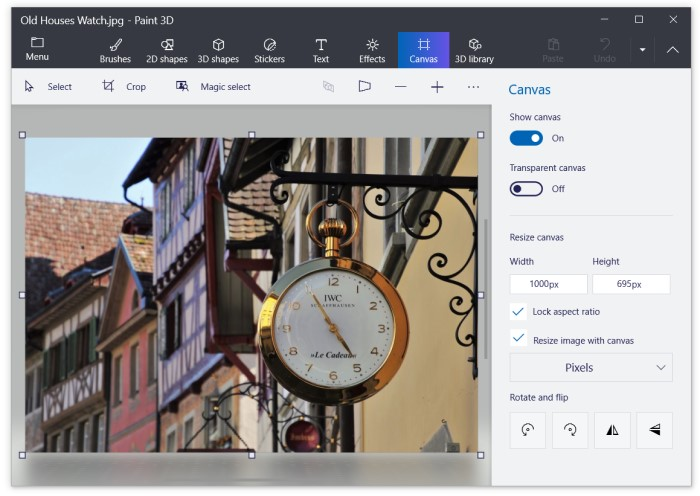 Resize images in Paint 3D app