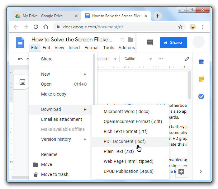 Google Drive Download Word Document as PDF.