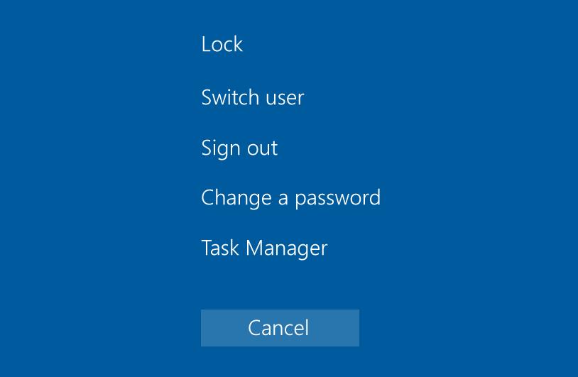 Alt Ctrl Del to Lock Windows 10