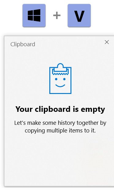 Activate Clipboard History in Windows 10
