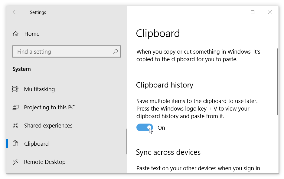 Enable Clipboard History in Windows 10