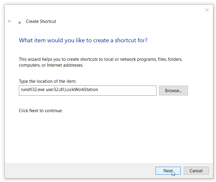 Create Desktop shortcut to lock Windows 10 pc