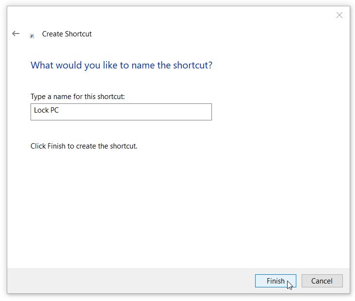 Desktop Shortcut to Password Lock PC