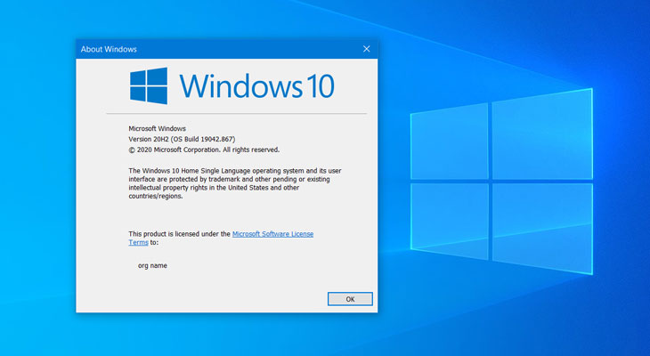 Find the version number of Windows 10 OS
