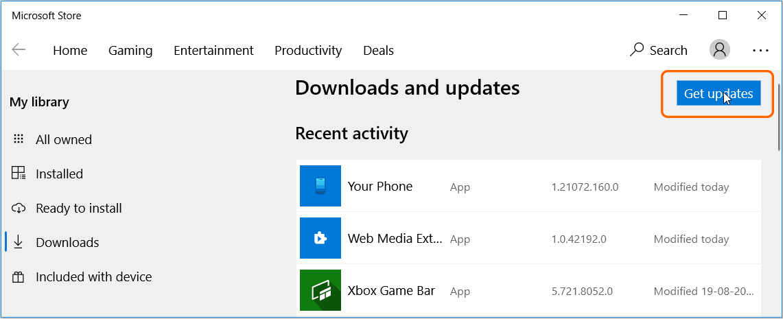 Update the Store apps in Windows 10