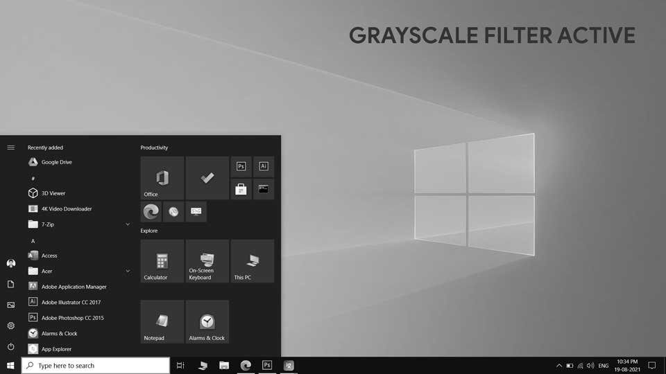 Grayscale Filter in Windows 10