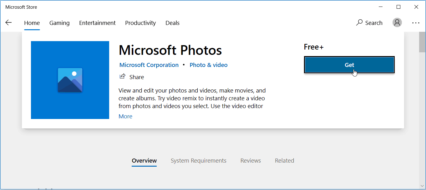 Download Photos app from Microsoft Store
