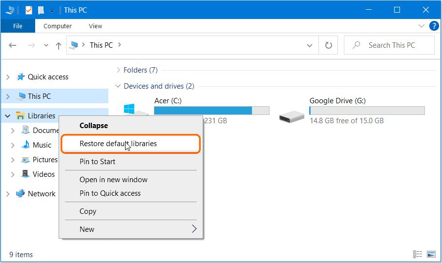 Restore Libraries Folder in Windows 10