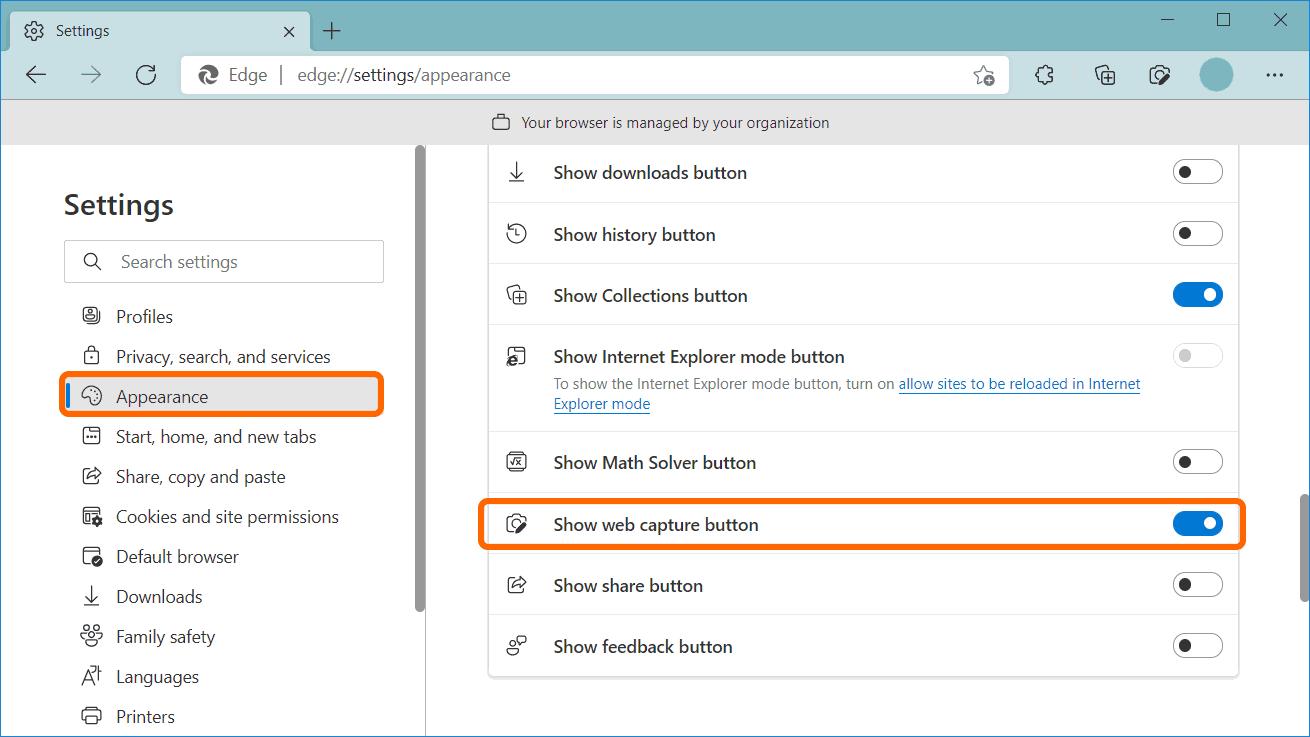 Enable Web Capture in toolbar in Microsoft Edge