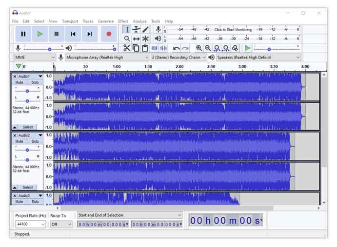 Combining multiple Audio files using Audacity in Windows 10