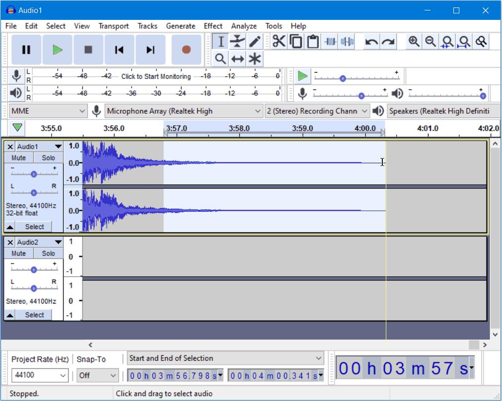 Combining MP3 files using Audacity in Windows 10